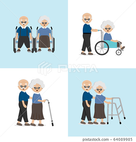 Senior Elderly couple in the hospital. Love and take care for each other concept.	 64089985
