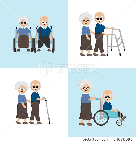 Senior Elderly couple in the hospital. Love and take care for each other concept. 64089990