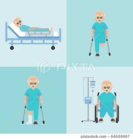 Disabled and injured old man. 64089997