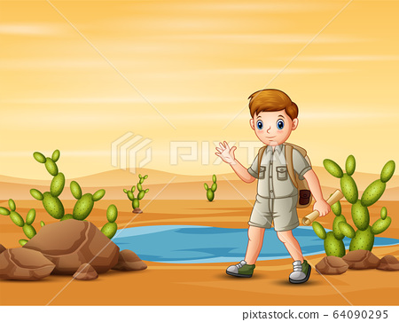 The scout boy hiking in desert field with maps 64090295