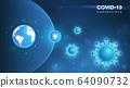 Coronavirus COVID-19. Coronavirus outbreak and coronaviruses influenza background. COVID-19 Virus. Virus attack on earth. Vector Illustration. 64090732