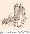 Castle and landscape. 64090743