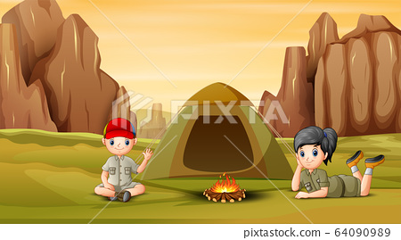 The scout kids camping out at nature 64090989