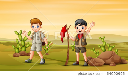 Young explorer hiking on the field 64090996