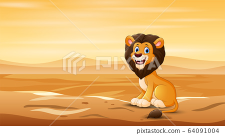 A lion sitting in the middle of desert field 64091004