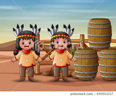 Native Indian american kids in the desert 64091037