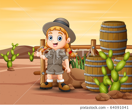 Safari girl standing in front the cage 64091041