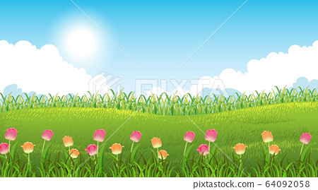 Nature scene background with beautiful flowers in 64092058