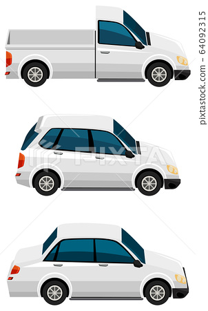 Set of different types of cars in white color 64092315