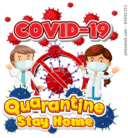 Font design for word covid-19 with two doctors and 64092351