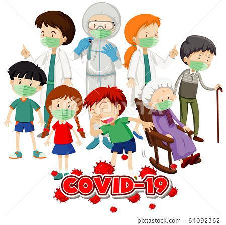 Poster design for coronavirus theme with many sick 64092362