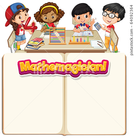 Frame template design with happy kids in classroom 64092364