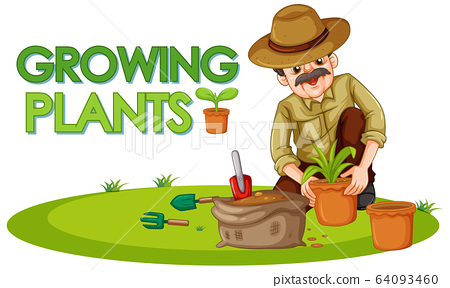 Scene with kid planting trees in the garden 64093460