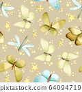 Hand painted watercolor pastel dragonflies and butterflies seamless pattern 64094719