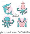 卡通 海洋动物 动物 64094889