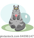 Cute grey cat with a pink heart 64096147