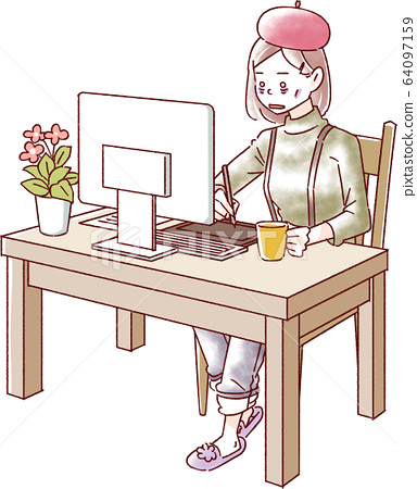 컴퓨터 작업을하는 여성 피로 64097159