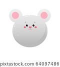 Cute Kawaii Mouse, Rat.  64097486