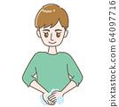一個男人洗他的手 64097716