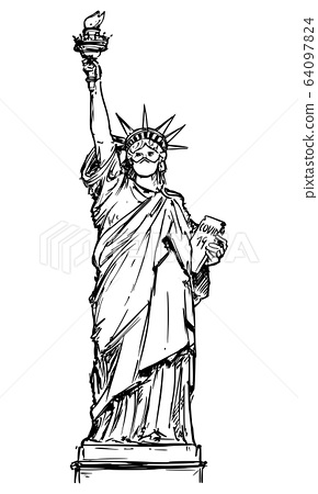 Vector Sketchy Illustration of The Statue of Liberty Wearing Face Mask. Concept of Coronavirus COVID-19 Epidemic in the New York City. 64097824