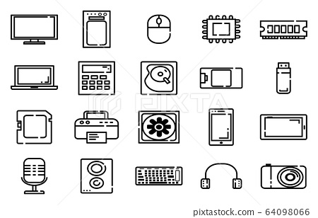 Electornic Thinline icons,Outline icons 64098066