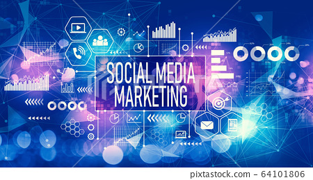 Social media marketing concept with technology light background 64101806