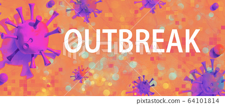 Outbreak theme with viral objects 64101814