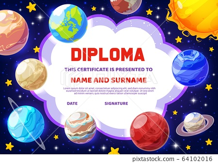 Diploma, education certificate, cartoon planets 64102016