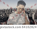 Stressed man holding head with hands on abstract city background. Double exposure. Virus alert, coronavirus pandemic. 64102824