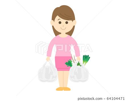 女人逛街買食物的插圖 64104471