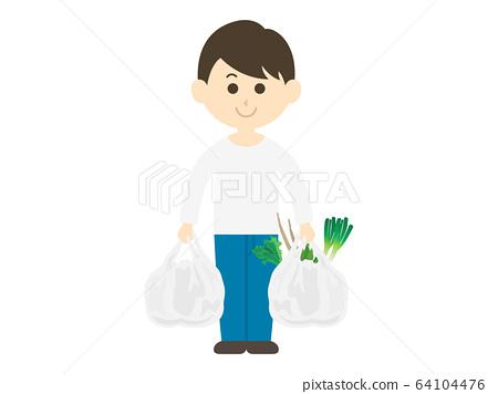 식품을 구매하는 남성의 일러스트 64104476