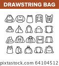 Drawstring Bag Travel Accessory Icons Set Vector 64104512