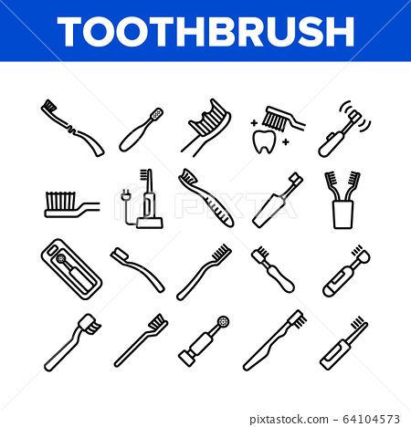 Toothbrush Equipment Collection Icons Set Vector 64104573