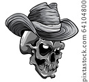 monochromatic vector illustration of cowboy skull cartoon style 64104800