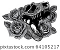monochromatic Detailed sketch style drawing of the roaring tyrannosaurus rex and roses frame. Tattoo design. 64105217