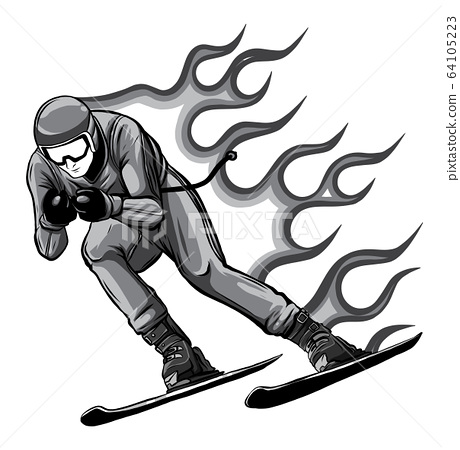 monochromatic Silhouette of a skier jumping. Vector illustration. Sport concept. 64105223