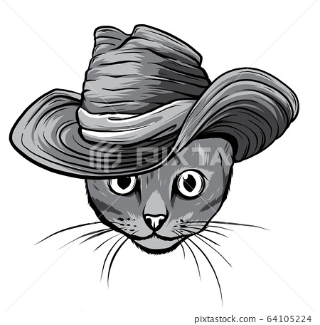 monochromatic Vector sketch of a stylized kitten s face 64105224