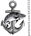 fish twisted to an anchor of a boat vector 64105253