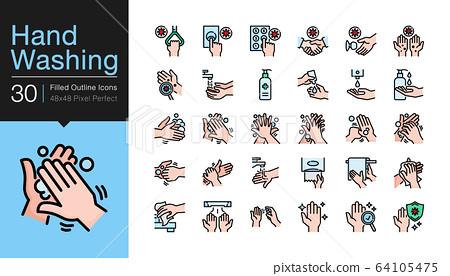 Hand washing icons. Hygiene care, antibacterial, 64105475