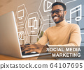 Smiling African American influencer with laptop broadcasting online. Social media marketing collage with icons 64107695