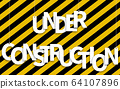 Under Construction text hanging on ropes on a 64107896