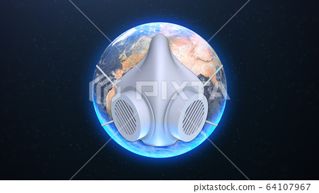 Planet earth with face mask protect 64107967