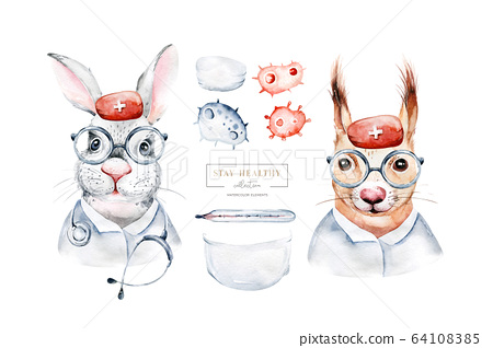 Squirrel Rabbit Animal cute doctor watercolor kids illustration isolated on white background. Medical children design. Infection protection epidemic mask. medic clinic 64108385