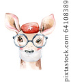 Deer Animal cute doctor watercolor kids illustration isolated on white background. Medical children design. Infection protection epidemic mask medic clinic 64108389