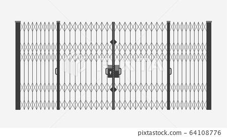 black sliding gates on white 64108776