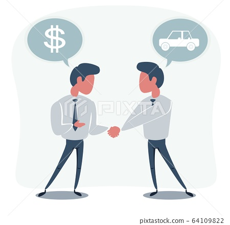 Businessman with money buying a car isolated on background. 64109822