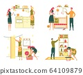 Women Household Daily Activity and Home Duty Set. 64109879