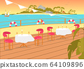 Restaurant Terrace Balcony on Seashore Backdrop. 64109896