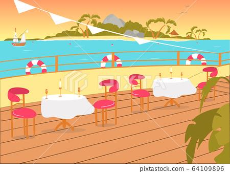Restaurant Terrace Balcony on Seashore Backdrop. 64109896