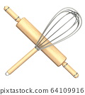 Wooden rolling pin and metal wire steel whisk 3D 64109916